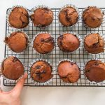 High protein mocha and black bean muffins
